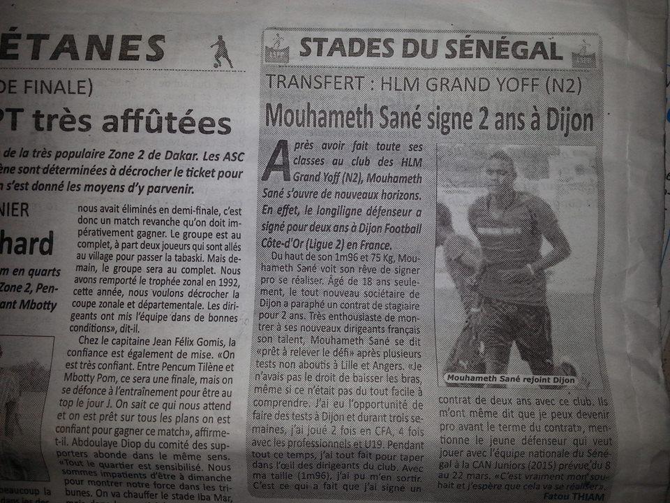 Mouhameth Sané signe 2 années au Dijon Football Côte-d'or